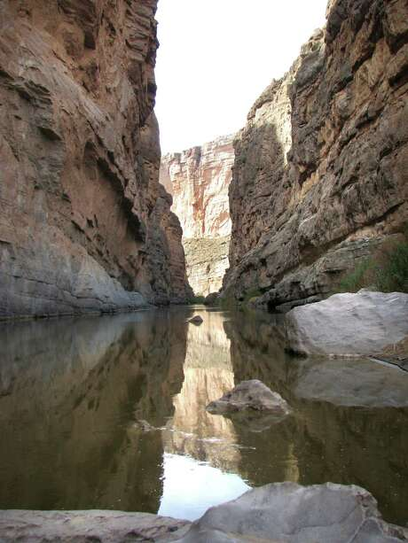 At the narrowest point of the Santa Elena Canyon in Big Bend National Park, only 30 feet separate Mexico, on the left side of the Rio Grande, from Texas. (Allen Holder/Kansas City Star/MCT)