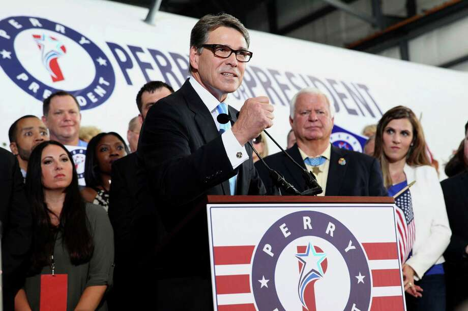 Former Texas Gov. Rick Perry announced his candidacy for President of the United States today iin Addison, Texas to a group of supporters. Photo: Tom Reel / San Antonio Express-News