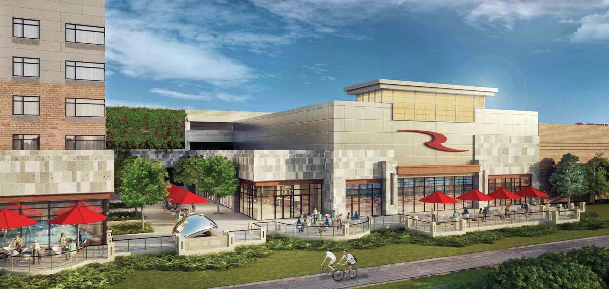 This rendering shows the scrapped design for the patio proposed for the Rivers Casino at Mohawk Harbor in Schenectady. (Rivers Casino at Mohawk Harbor)