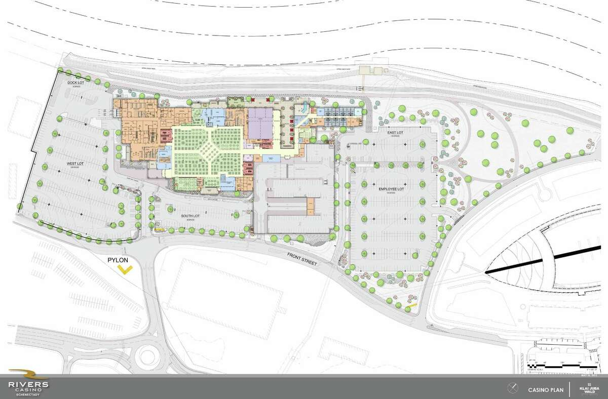 This rendering shows aerial view of the Rivers Casino at Mohawk Harbor in Schenectady. (Rivers Casino at Mohawk Harbor)