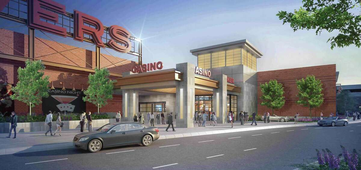 This rendering shows the latest designs for the entrance to the Rivers Casino at Mohawk Harbor in Schenectady. (Rivers Casino at Mohawk Harbor)
