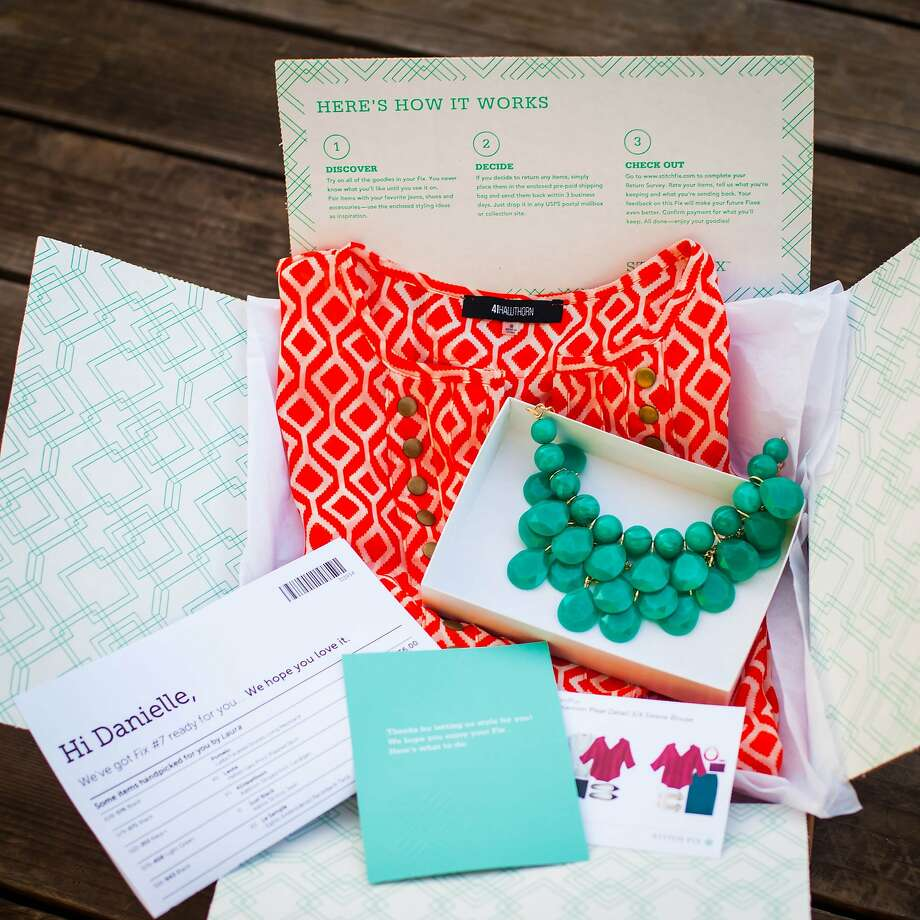 "Stitch Fix sends five personally selected items to customers each month in a box called a ""fix."" The customer can buy what she wants and return the rest. Photo: Stitch Fix"