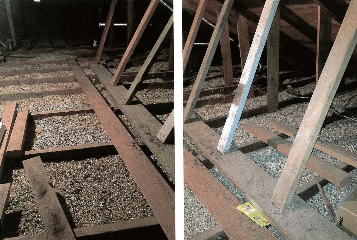 An attic shown with vermiculite insulation poured in between the joists.