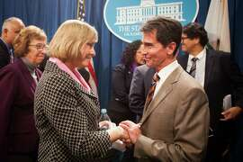 "Brittany Maynard's mother, Debbie Ziegler, left, is thanked by Senator Mark Leno, right, after a press conference introducing SB 128, ""The End-of-Life Options Act"" at the State Capitol in Sacramento, California, January 21, 2015."