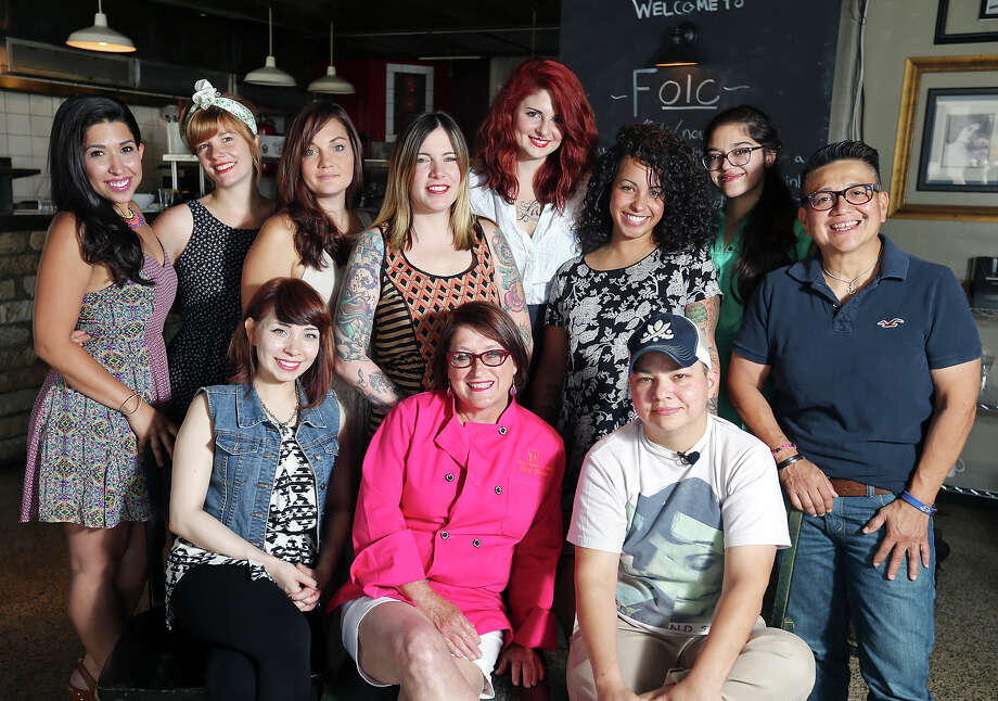 """Many of the minds behind """"The Secret Ingredient: La Mujer"""" are pictured. Standing from left: Jessica Vargas, Libby Mattingsley, Kat Sees, Danielle Chapman, Caitlin Buchanan Regan, Juliet Burley, Alex Zrinski-Mora and Diane Rodriguez. Seated from left: Andrea Pena, Joan Cheever and Monica De La O. Photo: Edward A. Ornelas /San Antonio Express-News / © 2015 San Antonio Express-News"""