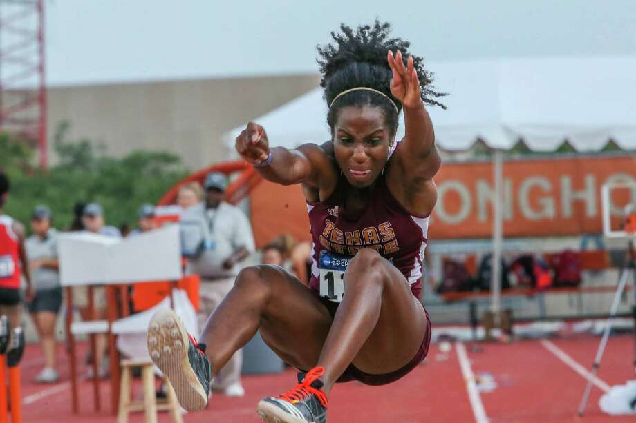 Texas State senior Allie Saunders broke the school record last weekend in the triple jump with a mark of 44 feet, 9 inches, the second-best effort in the nation this year. Photo: Andy Nietupski / Texas State Athletics / / Andy Nietupski