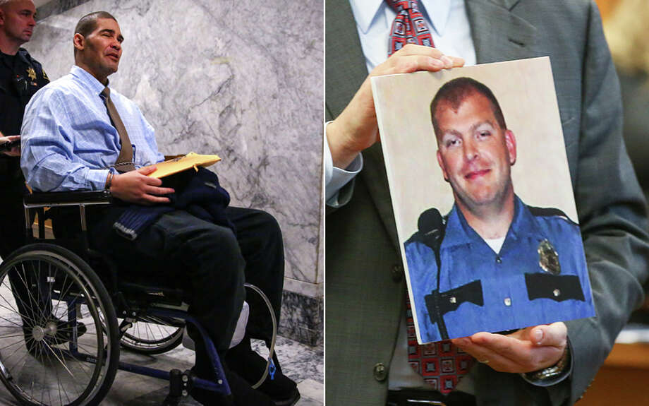 Christopher Monfort, left, was convicted of killing Seattle Police Department Officer Tim Brenton, pictured right, during an anti-police crime spree in the fall of 2009.