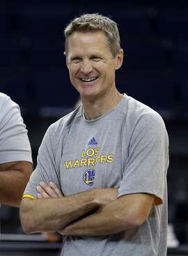 Golden State Warriors coach Steve Kerr smiles during NBA basketball practice, Wednesday, June 3, 2015, in Oakland, Calif. The Warriors host the Cleveland Cavaliers in Game 1 of the NBA Finals on Thursday. (AP Photo/Ben Margot)