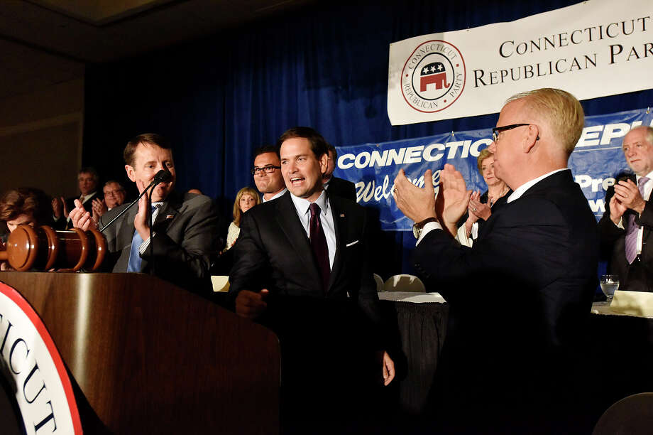 Florida U.S. Senator and Republican presidential candidate Marco Rubio approaches the podium to give his keynote address at the Prescott Bush Dinner at the Crowne Plaza in Stamford, Conn., on Thursday, June 4, 2015. Photo: Jason Rearick / Stamford Advocate