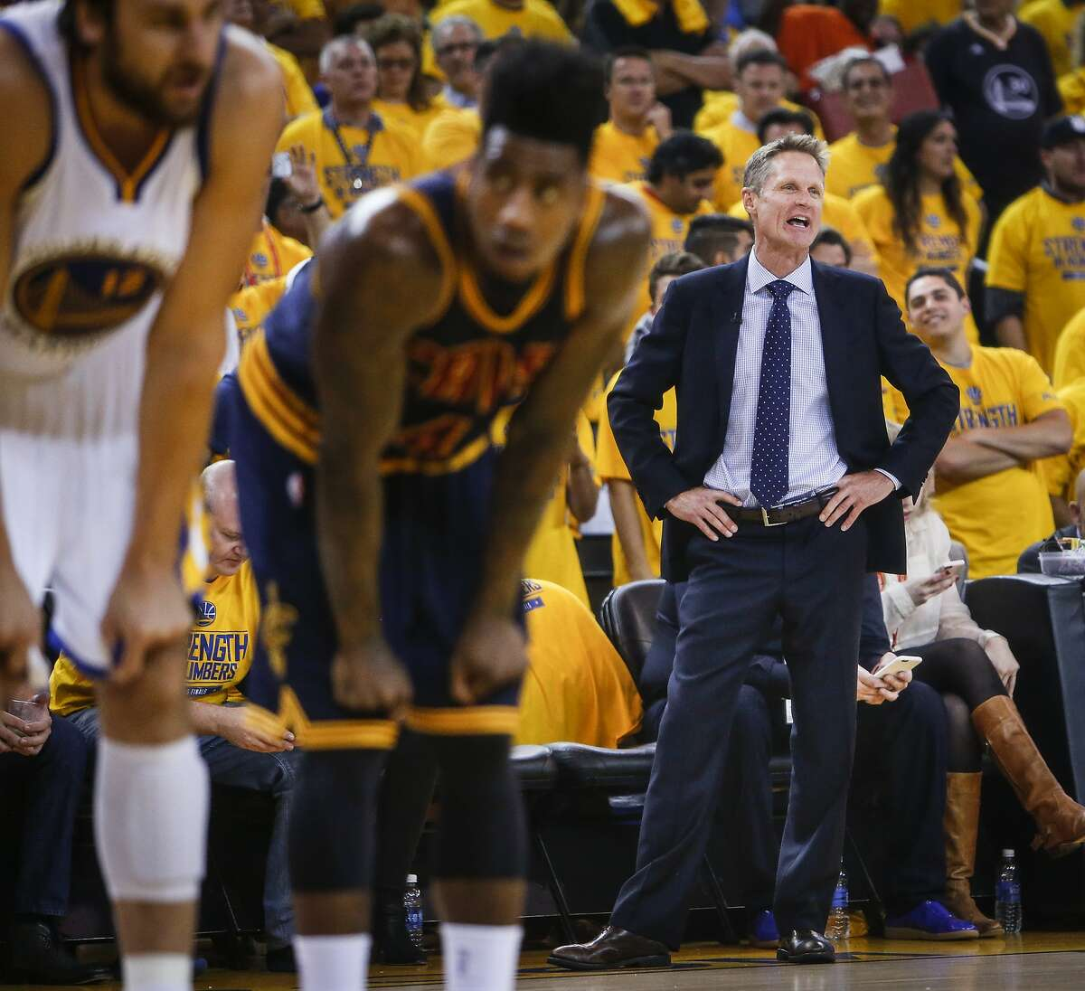 Golden State Warriors' Coach Steve Kerr is seen in the first period during Game 1 of The NBA Finals on Thursday, June 4, 2015 in Oakland, Calif.