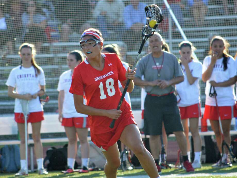 Greenwich High School's Natalie Paletta moves up field during a Class L girls lacrosse playoff game against Conard in West Hartford, Conn. on Thursday, June 4, 2015. Photo: Erika Klair/Contributed Photo, Contributed Photo / Greenwich Time Contributed
