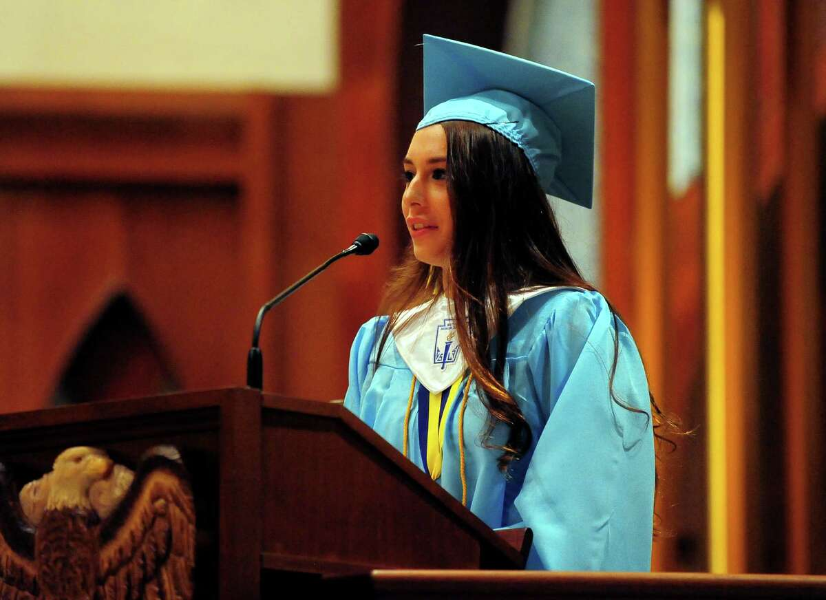 Kolbe Cathedral's Class of 2015 Commencement Exercises at St. Augustine Cathedral in Bridgeport, Conn., on Thursday June 4, 2015. Class Valedictorian Elizabeth Marrero.
