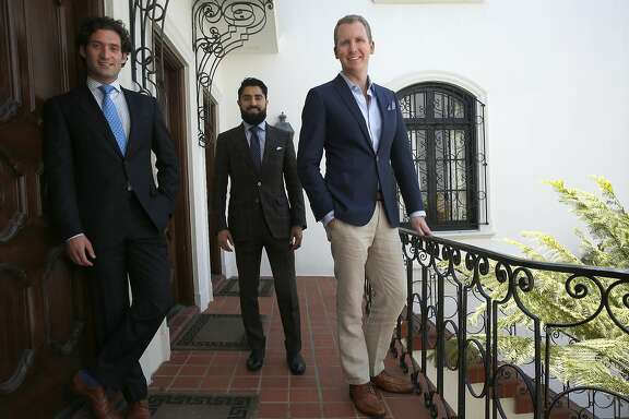 "Realtors Justin Fichelson (left), Roh Habibi (middle), and  Andrew Greenwell (right), talk about starring on ""Million Dollar Listing SF"", a reality show series starting next month in San Francisco, California, on Thursday, June 4, 2015."