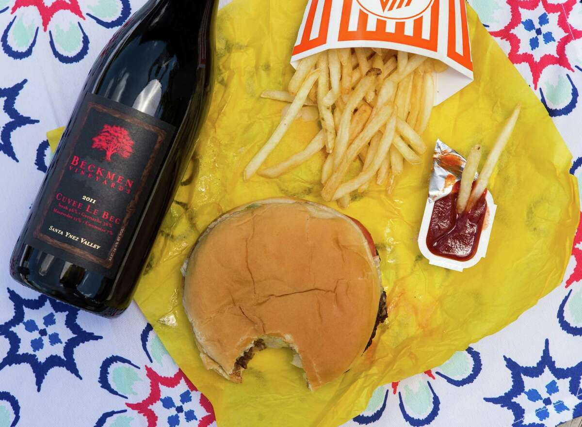 What a combo!: A Whataburger can be perfectly paired with a hoppy amber ale or a big and bold Bordeaux.