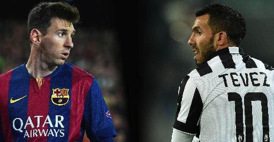 Los estelares atacantes argentinos Lionel Messi (izq.) y  Carlos Tevez se enfrentarán en la final de la Liga de Campeones en Berlín. Photo: Valerio Pennicino, Getty Images