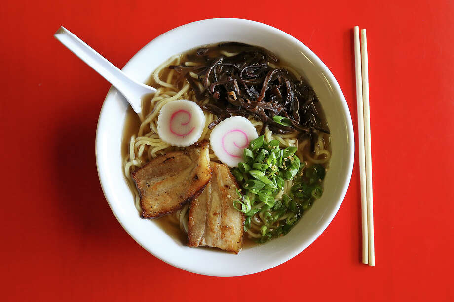 Shoyu ramen features a chicken and soy sauce broth with noodles, sliced pork belly, fish cake slices and wood ear mushrooms. Photo: Photos By Jerry Lara /San Antonio Express-News / © 2015 San Antonio Express-News