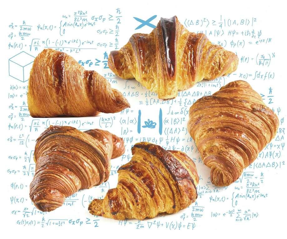 Our favorite croissants, clockwise from upper left: 1. Neighbor Bakehouse, 2. Tartine, 3. Fournée Bakery, 4. b. patisserie, 5. Mr. Holmes Bakehouse. Photo: Liz Hafalia