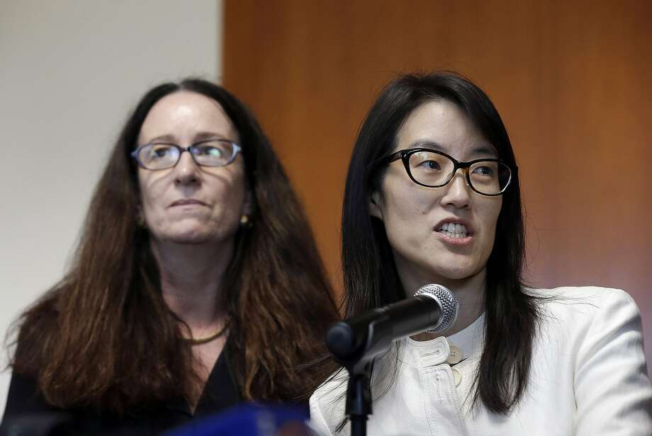 Ellen Pao, right, gives a statement to reporters next to her attorney Therese Lawless at Civic Center Courthouse in San Francisco, Friday, March 27, 2015. A jury decided Friday that a prestigious venture capital firm did not discriminate or retaliate against Pao in a case that shined a light on gender imbalance and working conditions for women in Silicon Valley. (AP Photo/Jeff Chiu) Photo: Jeff Chiu, Associated Press