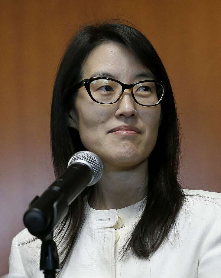 Ellen Pao speaks in March after she lost her sex discrimination lawsuit against Kleiner Perkins. Pao resigned as Reddit's interim chief executive on Friday. Photo: Jeff Chiu, Associated Press