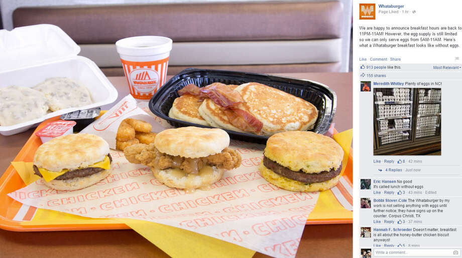 Announcing the return to normal breakfast hours, but with a tweaked breakfast menu, after a national egg shortage, Whataburger shows Facebook users what a egg-free breakfast might look like. Photo: Whataburger
