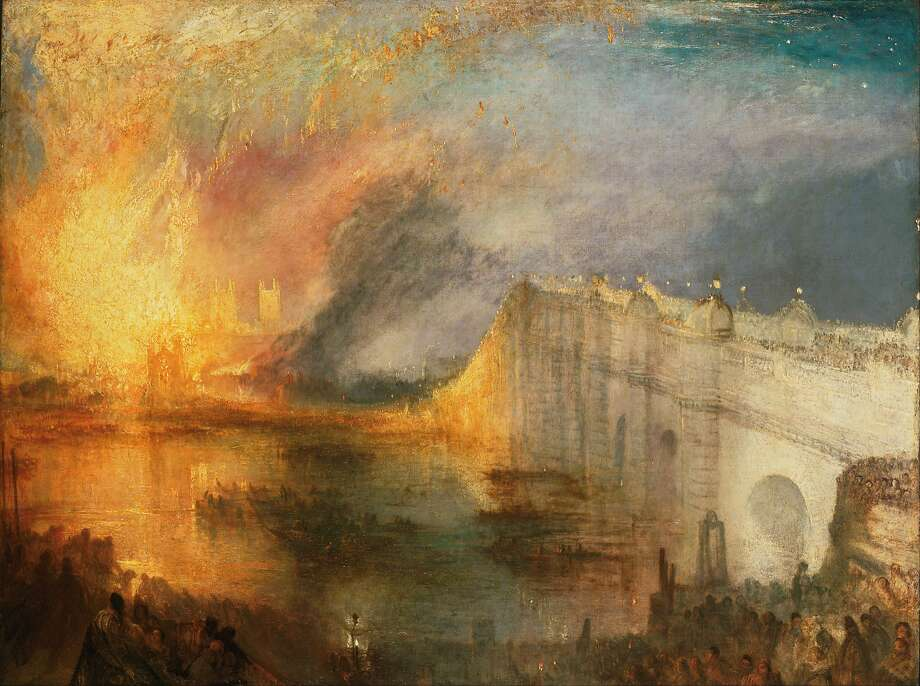 "Joseph Mallord William Turner, ""The Burning of the Houses of Lords and Commons, October 16, 1834,"" 1834-1835. Oil on canvas. Photo: JMW Turner"