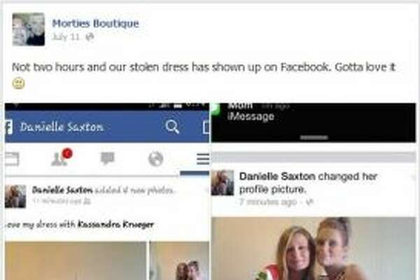 Danielle Saxton, 27, shared selfies of her wearing a stolen dress on Facebook. The boutique she stole the dress from posted surveillance footage of her on social media, as well. The posts led authorities to arrest her for the crime.   Original story can be viewed here.