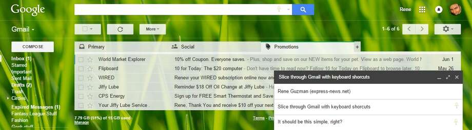 Screenshot of Gmail, for use with Gmail keyboard shortcuts. Photo: Screen Shot