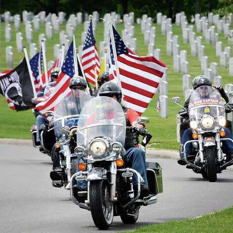 Patriot Guard Riders escort the remains of 8 unclaimed veterans to an Interment Ceremony with full Military Honors at the Saratoga National Cemetery Friday June 5, 2015 in Schuylerville, NY.  (John Carl D'Annibale / Times Union) Photo: John Carl D'Annibale / 00032127A