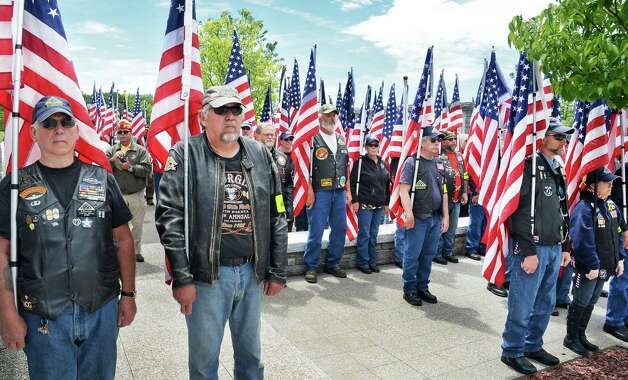 Patriot Guard Riders attend an Interment Ceremony for the remains of 8 unclaimed veterans at the Saratoga National Cemetery Friday June 5, 2015 in Schuylerville, NY.  (John Carl D'Annibale / Times Union) Photo: John Carl D'Annibale / 00032127A