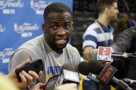 Golden State Warriors' Draymond Green answers questions from the media on Friday, June 5, 2015 in Oakland, Calif.