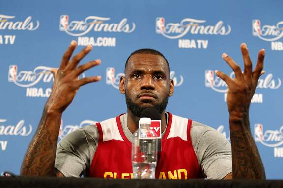 Cleveland Cavaliers' LeBron James answers questions from the media on Friday, June 5, 2015 in Oakland, Calif.