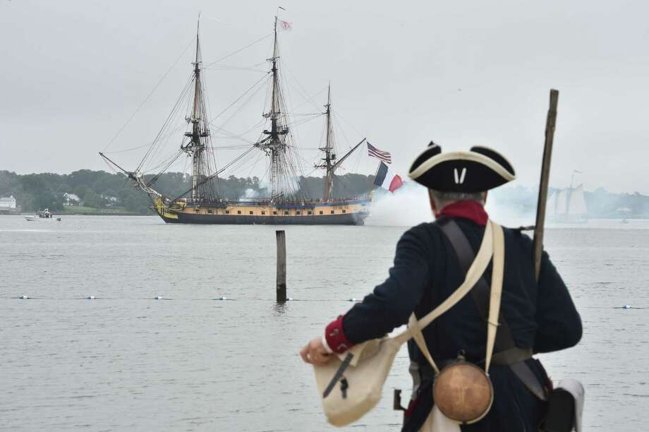 A replica of the French frigate Hermione arrives Friday in the Yorktown City Harbour in Virginia. The French navy ship brought General Lafayette to America to rally rebels fighting Britain in the war of independence. Photo: MLADEN ANTONOV, Staff / AFP