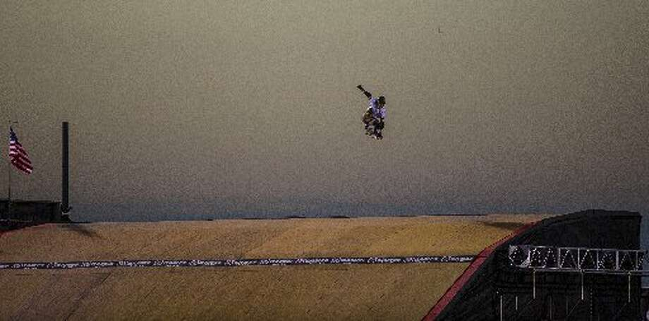 """Trey Wood makes his way on the America""""s NaySkateboard Big Air during day 2 of the X Games Austin at the COTA on Friday, June 6, 2014. Photo: RICARDO B. BRAZZIELL / AMERICAN- STATESMAN /"""