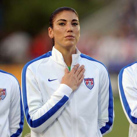 Hope Solo #1 of the U.S. women's national team stands at attention during the National Anthem prior to their match against the Swiss women's national team at WakeMed Soccer Park on August 20, 2014 in Cary, North Carolina. Photo: Lance King, Getty Images