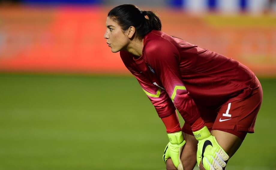 Hope Solo of the US follows the action on the field against Mexico on May 17, 2015 in Carson, California, where the US defeated Mexico 5-1 during their pre-World Cup friendly. Photo: FREDERIC J. BROWN, AFP/Getty Images