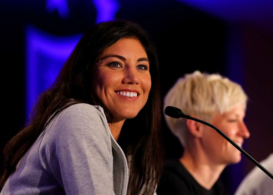 Hope Solo answers questions during the United States Women's World Cup Media Day at Marriott Marquis Hotel on May 27, 2015 in New York City. Photo: Getty Images