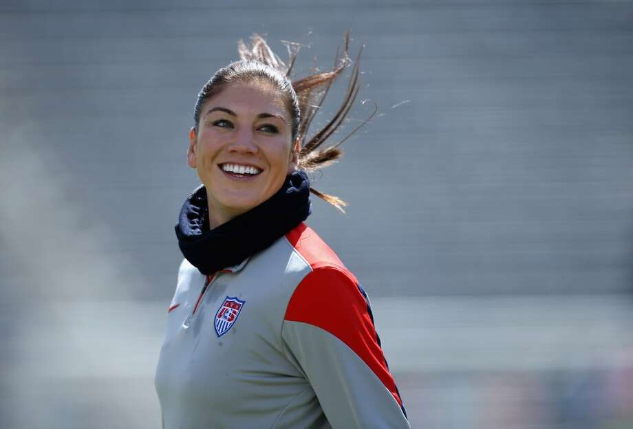 Goalkeeper Hope Solo #1 of the United States warms up prior to faicng China at Dick's Sporting Goods Park on April 6, 2014 in Commerce City, Colorado. The United States defeated China 2-0. Photo: Doug Pensinger, Getty Images