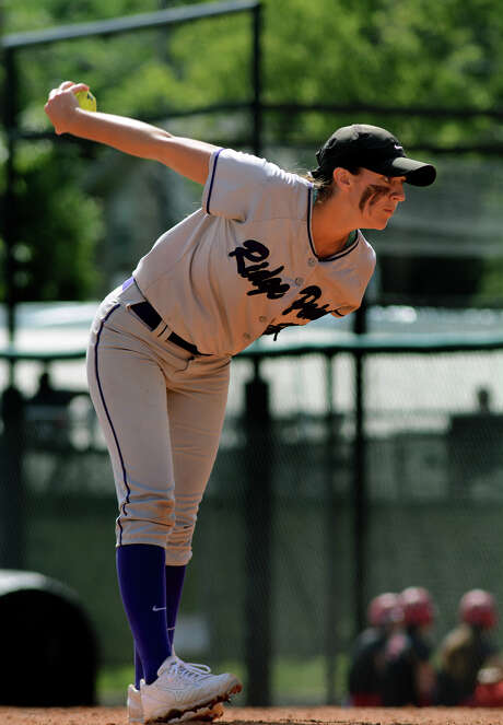Ridge Point junior relief pitcher Lindsey Longuet works against Aledo in the bottom of the 6th inning of their Class 5A UIL State Softball Championship semi-final matchup at McCombs Field in Austin on Friday, June 5, 2015. (Photo by Jerry Baker/Freelance) Photo: Jerry Baker, Freelance
