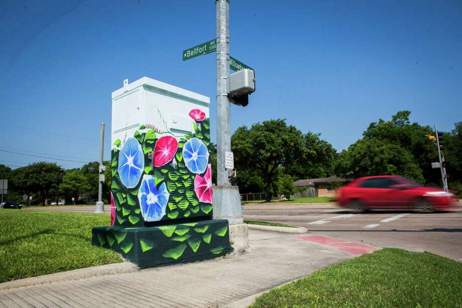 Houston has funkiness and idiosyncrasies. In this photo: Artist Anat Ronen painted a traffic control cabinet on the corner of West Bellfort and Willowbend Boulevard. Photo: Marie D. De Jesus, Staff / © 2015 Houston Chronicle