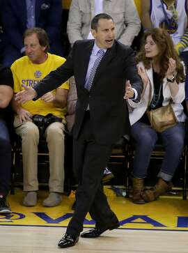 Cleveland Cavaliers head coach David Blatt reacts during the second half of Game 1 of basketball's NBA Finals against the Golden State Warriors in Oakland, Calif., Thursday, June 4, 2015. The Warriors won 108-100. (AP Photo/Eric Risberg)