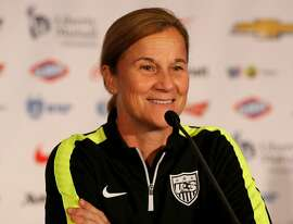 NEW YORK, NY - MAY 27:  Head coach Jill Ellis answers questions during United States Women's World Cup Media Day at Marriott Marquis Hotel on May 27, 2015 in New York City.  (Photo by Elsa/Getty Images)