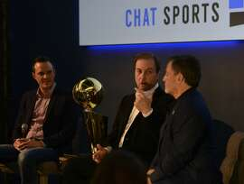 Joe Lacob, owner of the Golden State Warriors (left), and Dan Gilbert, owner of the Cleveland Cavaliers (right), ucome together for a discussion on championship philosophy, investment strategy, and the impact of technology on sports at Zynga HQ in San Francisco, California, on Friday, June 5, 2015.
