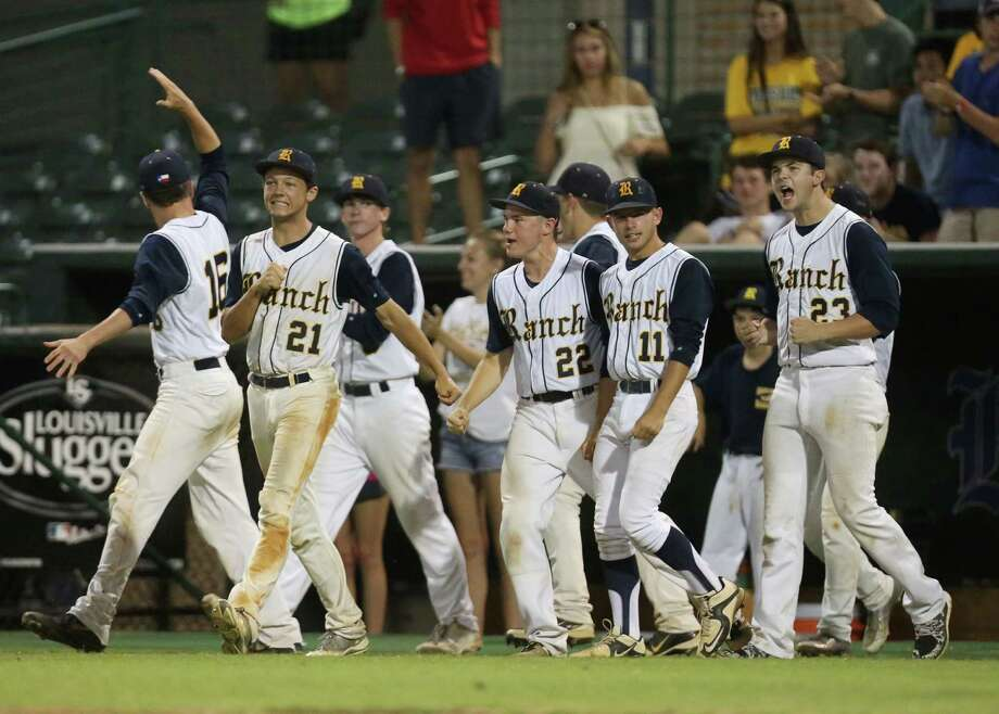 Cypress Ranch celebrates after winning game 2 of the Class 6A Region 3 Finals at Reckling Park Friday, June 5, 2015, in Houston. Photo: Jon Shapley, Houston Chronicle / © 2015 Houston Chronicle
