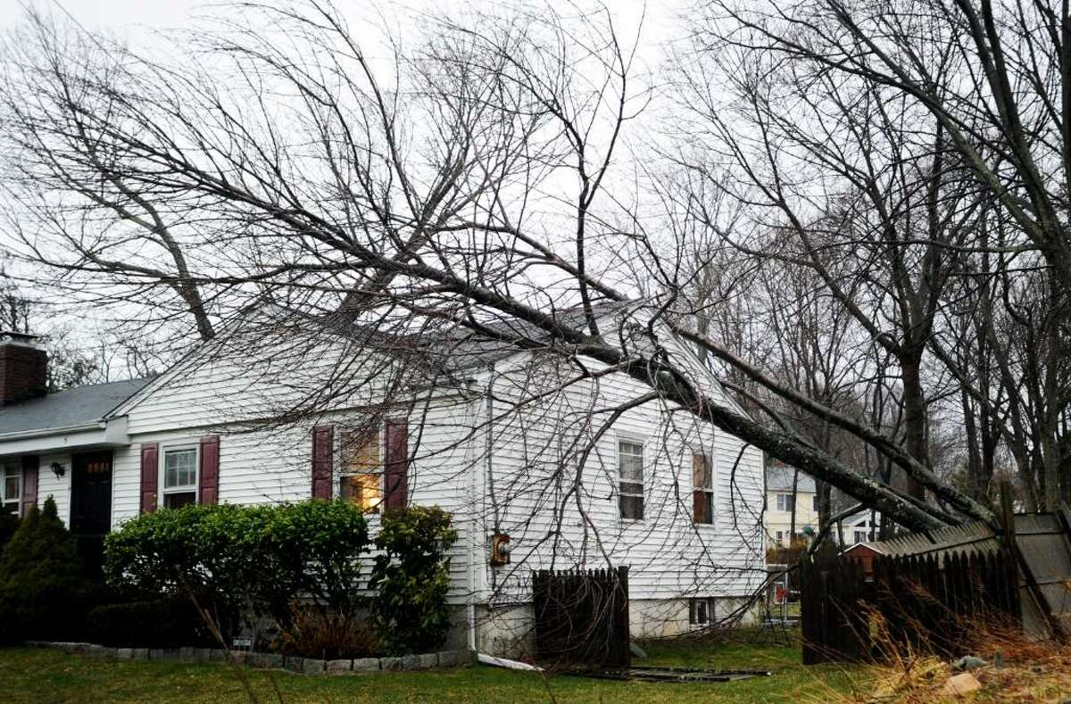 A tree lies on a home at 5 Northridge Road in Old Greenwich Saturday afternoon, March 13, 2010. High winds and rain left roads covered in brush and downed wires causing traffic tie ups on both the Merritt Parkway and I-95.