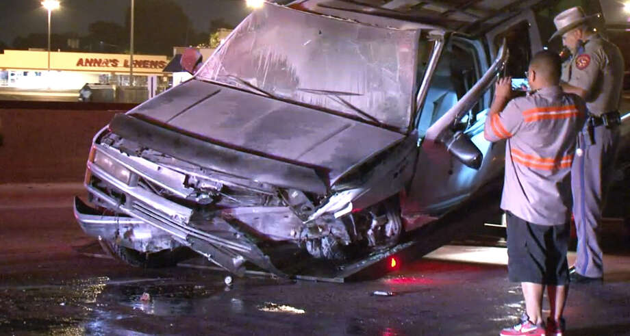A woman was killed after her SUV struck the back of a big rig on the South Loop near Texas 225 around 2:45 a.m. on June 6, 2015. Photo: Metro Video/For The Houston Chronicle