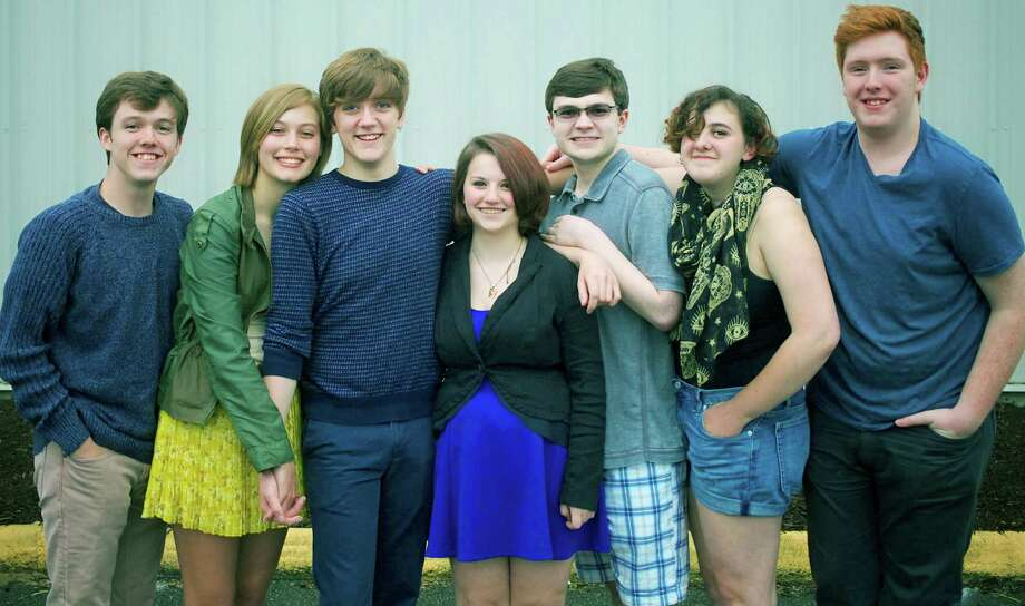 "Cast members for PAC's presentation of  ""Dog Sees God"" include, from left to right, Tommy Ovitt, Phair Haldin, Jack Harding, Bri Dowler, Dominick Ventrella, Abby Freeman and Sam Everett. Absent is Josie Harding. June 2015 Photo: Trish Haldin / The News-Times Freelance"