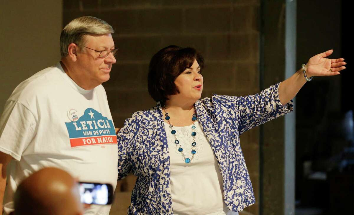 Mayoral candidate Leticia Van de Putte and her husband, Pete, offer their thanks to their campaign block walkers at her election headquarters on Saturday, June 6, 2015. Van de Putte and her campaign were on the go as early voting for the mayoral runoffs were well underway with only two days remaining before election day on June 13. Van de Putte visited with supporters throughout the day.