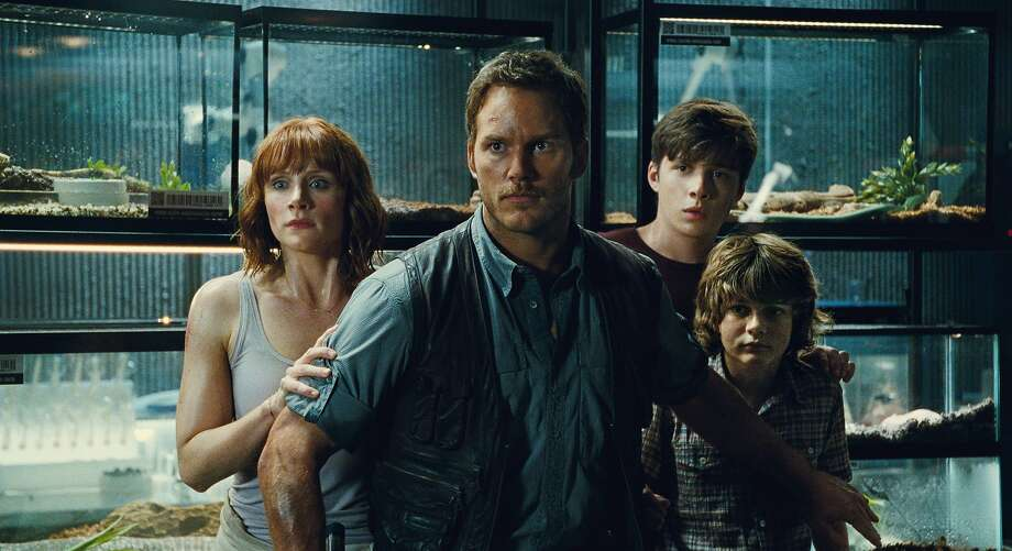 "Bryce Dallas Howard as Claire (left), Chris Pratt as Owen, Nick Robinson as Zach and Ty Simpkins as Gray face a new round of killer ""Jurassic"" fauna. Photo: Universal Pictures/Amblin Entert, Associated Press"