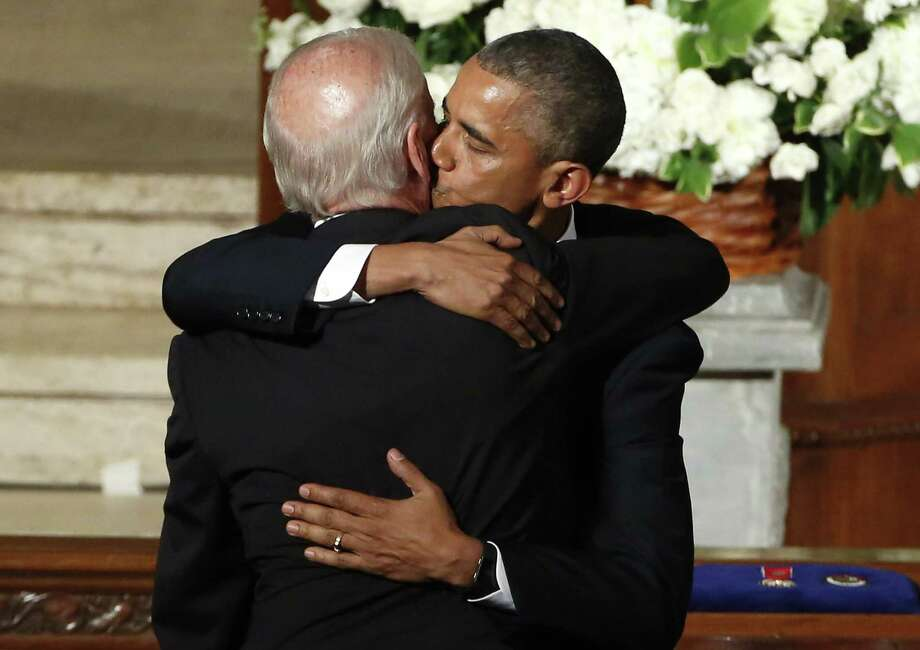 """President Barack Obama called Vice President Joe Biden """"my brother"""" during his eulogy for Biden's son Beau during Saturday's funeral, which came as a tragic bookend to the vice president's career, which also began in tragedy. Photo: YURI GRIPAS, Pool / AFP"""
