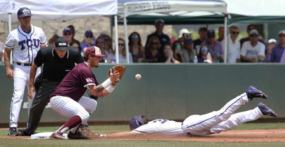 TCU's Jeremie Fanagan slides safely into third with a first-inning triple, beating the throw to Texas A&M third baseman Logan Nottebrok in the Horned Frogs' rout. Photo: Paul Moseley, MBR / Fort Worth Star-Telegram